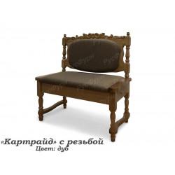 Прямой кухонный диван ВМК-Шале Картрайд 100 см с резьбой