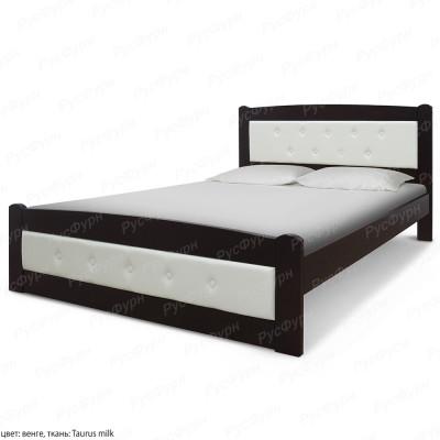 Кровать из массива сосны ВМК-Шале Березка 140 см с кожей