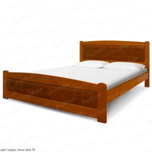 Кровать из массива сосны ВМК-Шале Березка 90 см с кожей