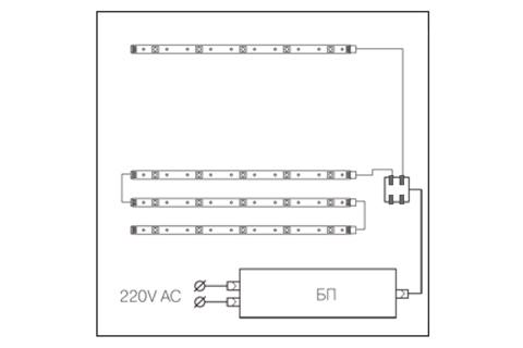 Схема подключения подсветки для мебели Лером